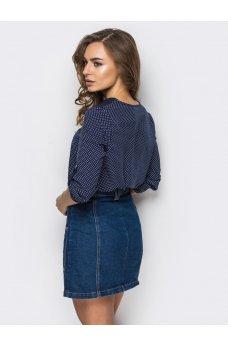 Темно-синяя блузка в горошек