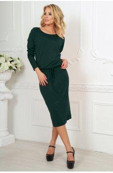 Темно-зеленое платье миди с кулиской