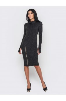 Теплое черное платье с молнией