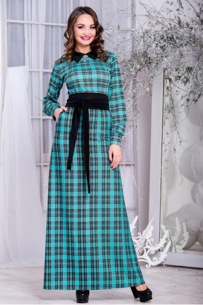 Теплое длинное платье клетка мята