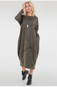 Теплое платье оверсайз цвета хаки