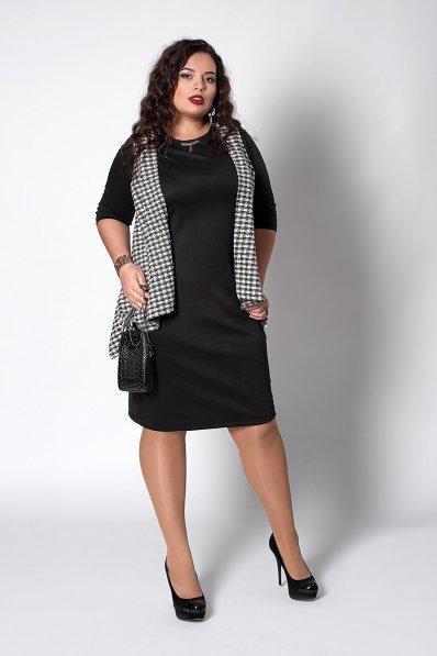 Трикотажное черное платье с имитацией накидки