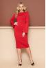 Трикотажное платье красного цвета с расклешенным рукавчиком