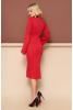 Трикотажное платье красного цвета с расклешенным рукавчиком - фото 1