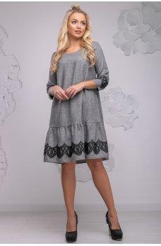 Стильное серое платье свободного кроя