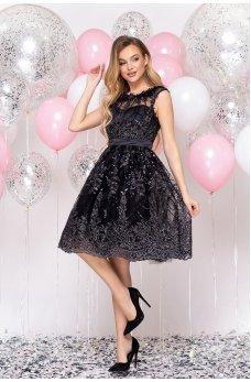Черное кокетливое нарядное платье
