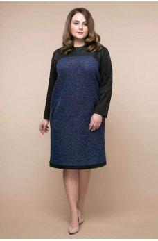 Темно-синее гламурное платье батал с карманами
