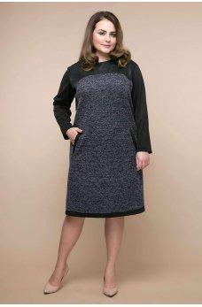 Серое изумительное женское платье батал