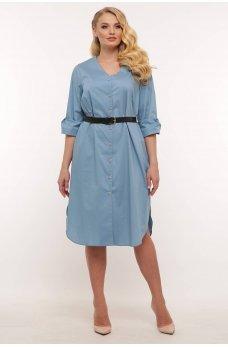 Серо-голубое хлопковое платье-рубашка
