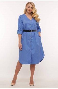 Голубое легкое утонченное платье-рубашка батал