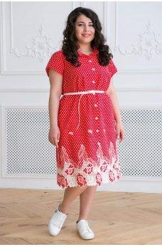 Красное коттоновое платье миди с купоном из прошвы
