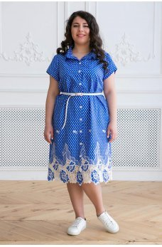 Голубое повседневное платье в горох с поясом