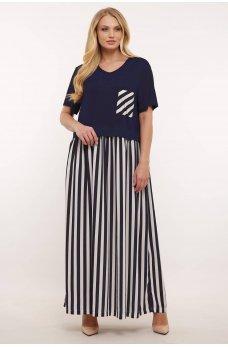 Темно-синее универсальное платье макси в белую полоску