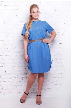 Голубое джинсовое платье батал с ремешком