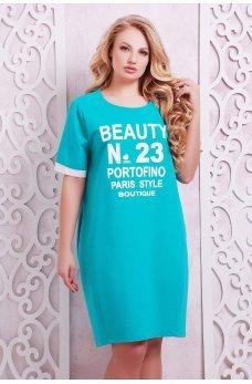 Бирюзовое легкое платье-туника с принтом