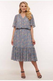 Голубое шифоновое нежное платье с принтом