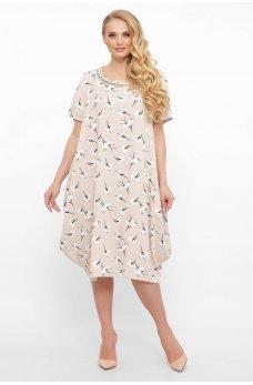 Бежевое легкое принтованное платье миди