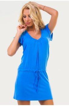 Удобное летнее платья-туника голубого цвета