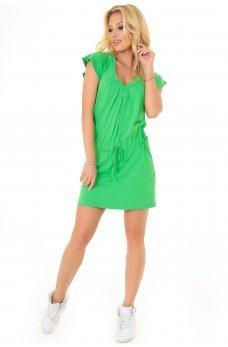 Удобное летнее платья-туника зеленого цвета