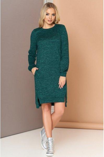 Удобное трикотажное платье с удлиненной спинкой  и карманами