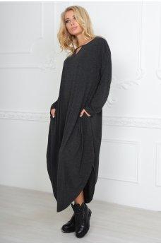 Удобное платье оверсайз темно-серого цвета