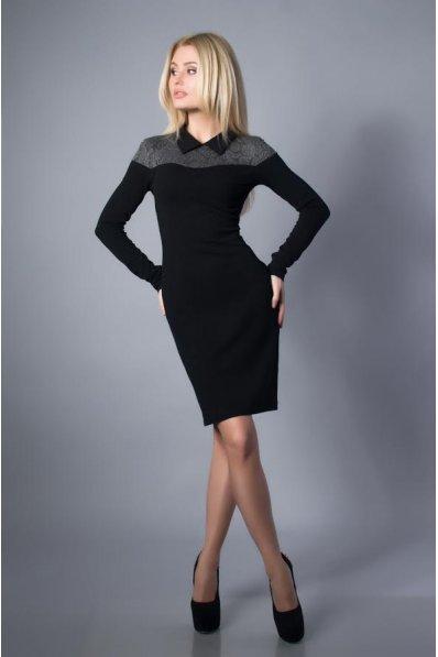 Приталенное черно-серое платье с воротничком