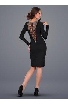 Эффектное платье с декольте и гипюровой спинкой черное