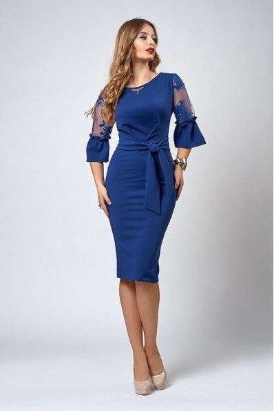 Шикарное синее платье с кружевом
