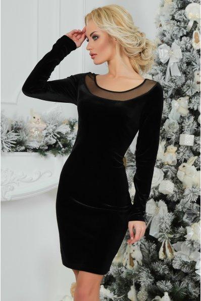 Утонченное бархатное черное платье