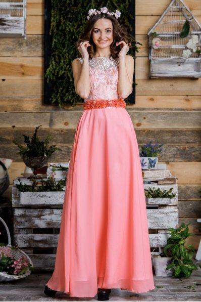 Утонченное персиковое платье на балл