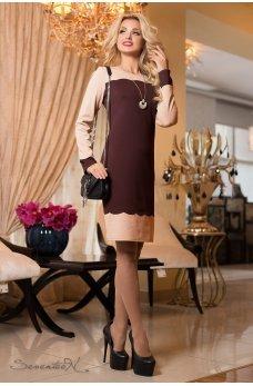 Вишукане плаття з перфорацією коричневе