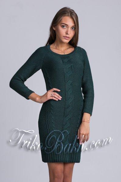Утонченное вязаное платье изумруд