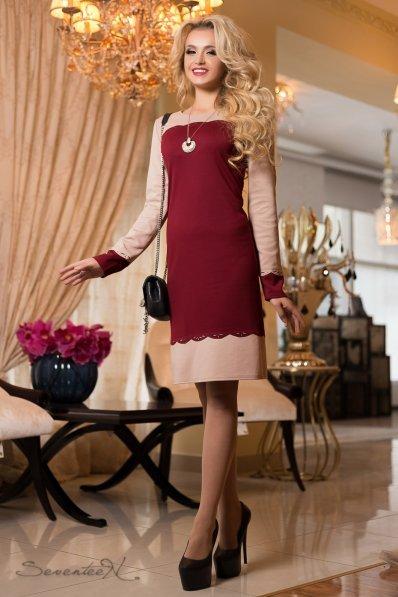 Утонченное платье с перфорацией бежево-бордовое