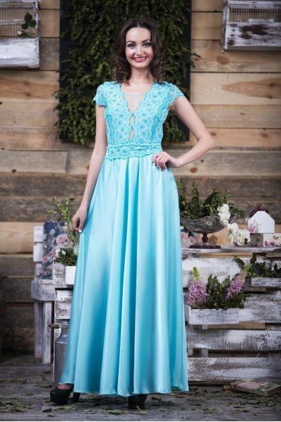 Вечернее платье из атлас-шифона и гипюра бирюза