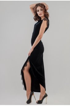 Вечернее бархатное платье в пол с эффектным разрезом
