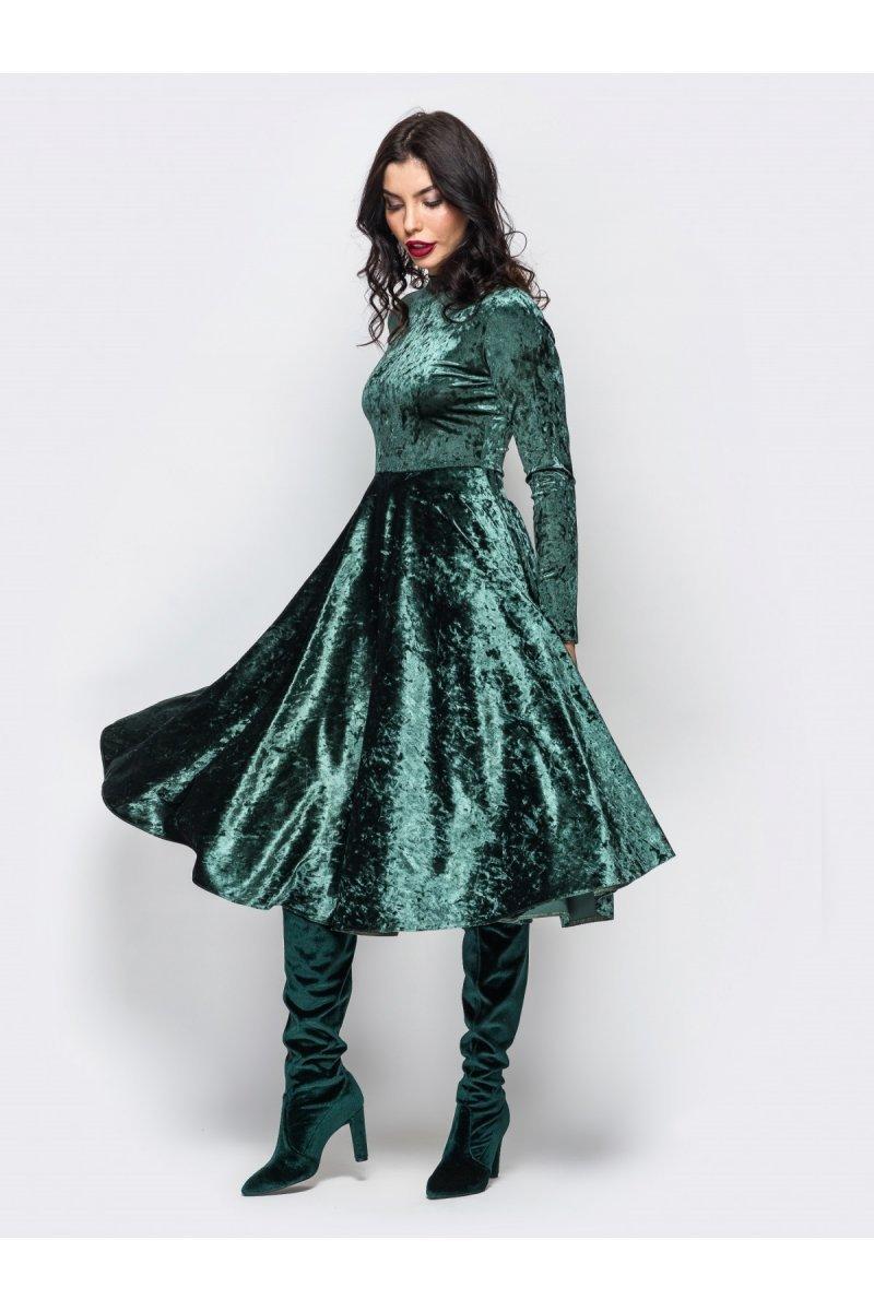 883dbbf8e565f4 Велюрове смарагдове плаття з пишною спідницею