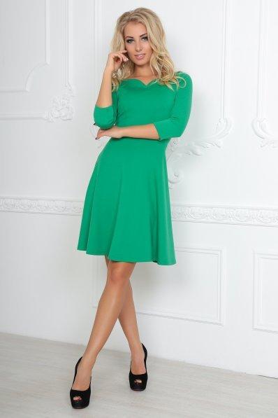 Весеннее платье с юбкой полусолнце зеленое