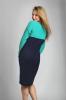 Вязаное оригинальное платье темно-синего цвета с мятой - фото 1