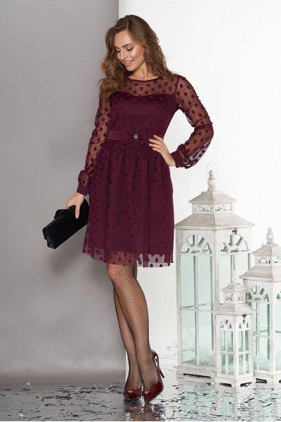 Воздушное двухслойное платье бордового цвета с пышной юбкой