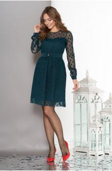 Воздушное двухслойное платье изумрудного цвета с пышной юбкой