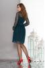 Воздушное двухслойное платье изумрудного цвета с пышной юбкой - фото 1