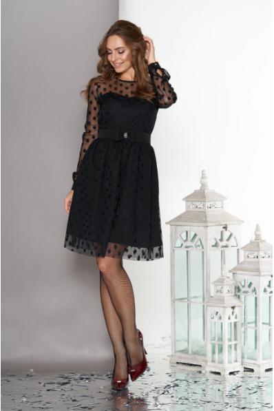 Воздушное двухслойное платье черного цвета с пышной юбкой