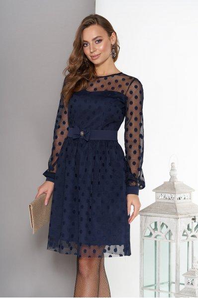 Воздушное двухслойное платье темно-синего цвета с пышной юбкой