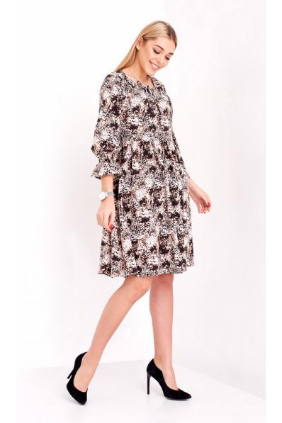 Воздушное платье с вискозы оттенка капучино