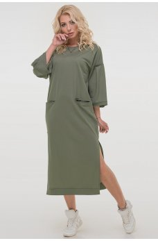 Классное платье свободного покроя цвета хаки