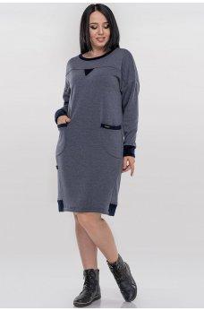 Молодежное теплое платье мешок цвета джинса