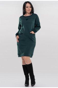 Молодежное теплое платье мешок зеленого цвета