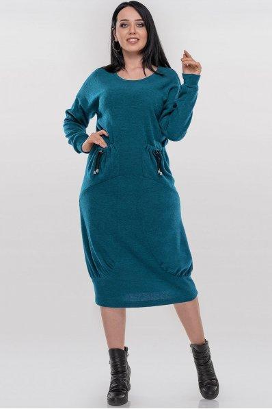 Необычное ангоровое платье оверсайз бирюзового цвета