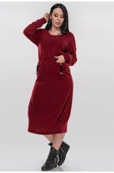 Необычное ангоровое платье оверсайз красного цвета