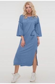 Классное платье свободного покроя в голубом цвете